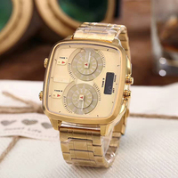 2017 Fashion Gold Sports Watch Two Time Zone Three Eyes Quartz Men's Watches Wholesale