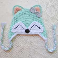 Green baby fox caps hand crochet fox kid beanie with ears knitted ear flap hats