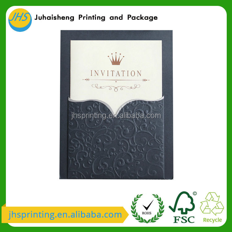 New customized color gold foiled speacial paper cover invitation card for wedding/party