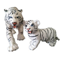 ICTI certificated custom made White Tiger Safari Toy Lifelike Model Small plastic animal Figures Set