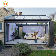 Aluminium alloy frame tempered glass garden sunroom bi folding door