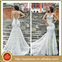 RM03 Newest Cap Sleeve Beading Mermaid Lace Bare Back Wedding Dress Imported From China