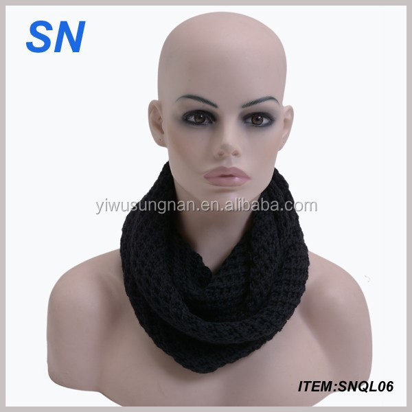 Acrylic knitted solid black infinity scarf