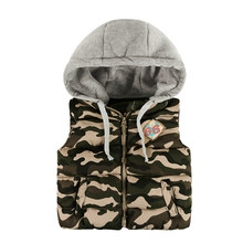 New Arrival Children Boys Light Weight Camouflage Down Waistcoat In Stock