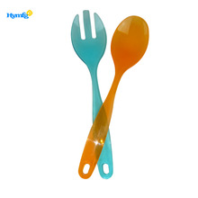 Disposable plastic serving fork and spoon set for salad spoon set