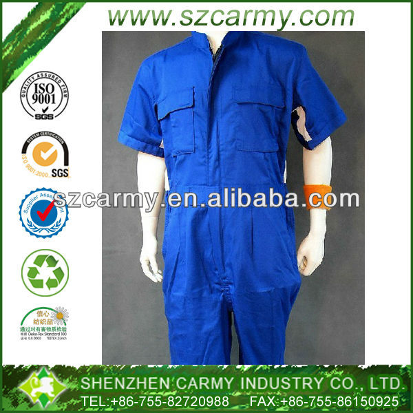 Summer Bright Blue Anti-Static Short Sleeve Fine Quality Overalls for workers