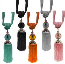Decorative crystal tassel for curtains, ribbon curtain tiebacks with beads, window curtain accessories