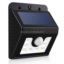 Outdoor Solar Power Panel 8 LED round rechargeable Wall Light / Garden /outdoor lamp
