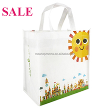 Factory Sale Cheap Promotional Full color bag printing non woven bags , Reusable Long Handle nonwoven Shopping bags with logo