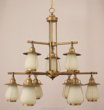 9 lights French luxury chandalier hotel chandelier iron Polished antique Brass Chandelier lighting
