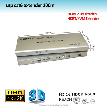 100m ultrathin hdbt extender with poe, kvm function, support ethernet,bidirectional infrared, RS232, extender HDBaseT 100m
