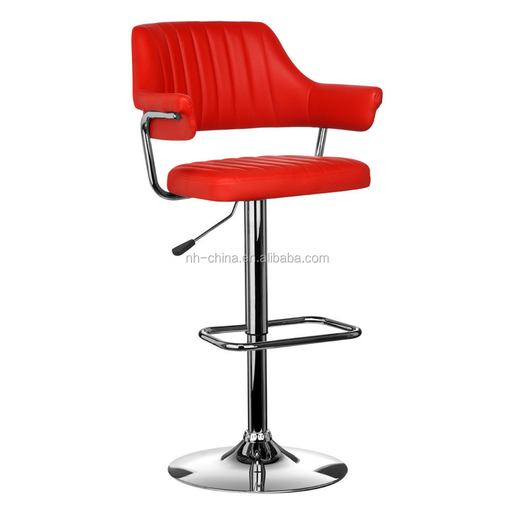 Modern Design Red PU Leather Swivel Bar Stool Chair for Restaurant