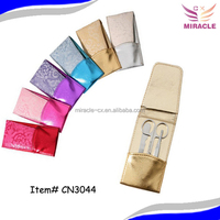 Colorful and shining manicure slip pouch 3pcs stainless steel manicure set fashion promotional gift products