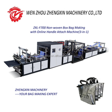 ZXL-F700 Non-woven Box Bag Making Machine with Online Handle Attach Machine(3-in-1)