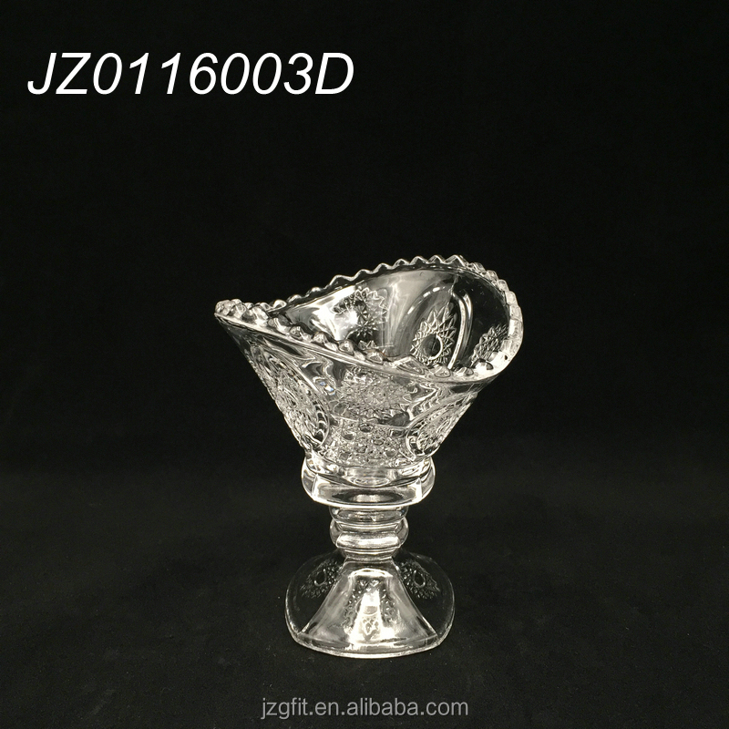 Wholesale factory price elegant transparent glass ice cream cup, ice cream bolw for restaurant and hotel