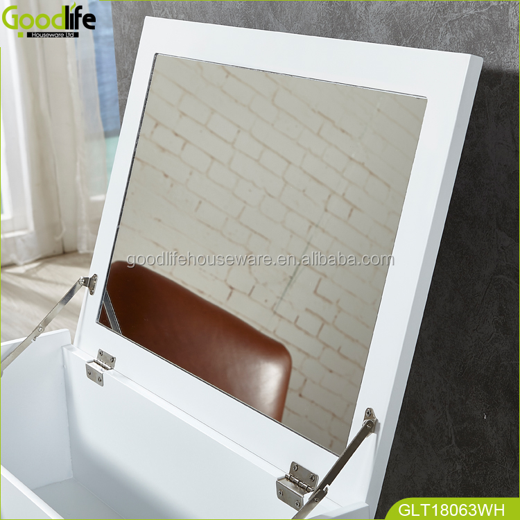 Rubber solid wood dressing table with brown white color