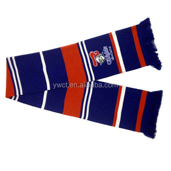 China Scarf Manufacturer Wholesale Custom Winter Long Striped Team Fans Scarf
