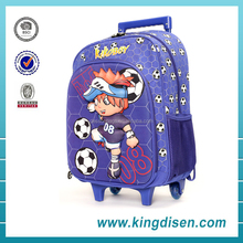 2016 new style children polyester fabric blue color school trolley bag for boys