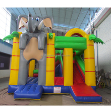 Children game inflatable elephant bouncer combo with slide for sale