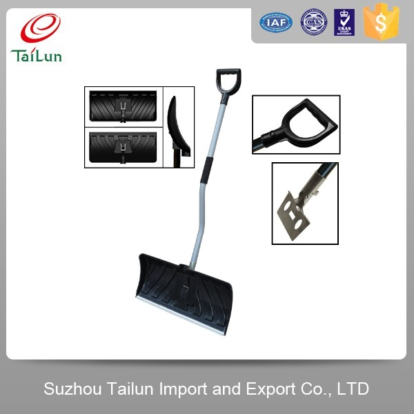 Curved handle snow shovel