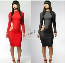 New Fashion 2014 Spring Bandage Dresses Bodycon Sexy Women Long Sleeve Knee Length Evening Dress Black Red plus Size SV000293