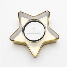 Electroplate gold star shape Glass Tealight Candle Holder
