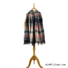 Fashion winter acrylic color lattice knitted scarf