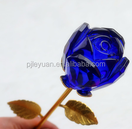 Hot sale blue glass crystal rose flower for wedding decoration or souvenirs
