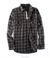 Custom made factory wholesale man slim fit plaid cotton flannel shirt