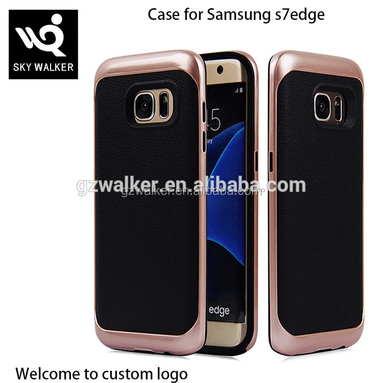 Creative Design PU Leather Back Cover Hard PC Bumper Case For Samsung galaxy s7 edge , Mobile Case For Samsung Phones