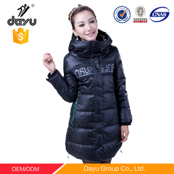 Black women bomber jacket wholesale plain black hoodie winter down coat