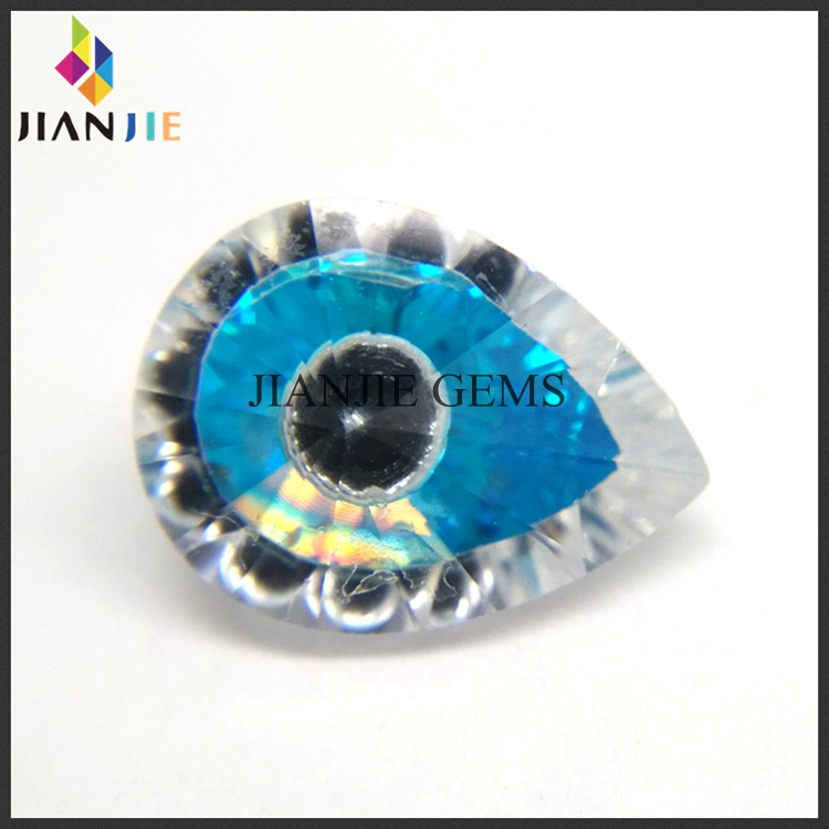 Factory Wholesale Price Aquamarine and White Evil Eye CZ Synthetic Gem Pear Cubic Zirconia Stone