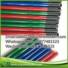 With long cap stripe PVC covering mop stick,PVC coated wooden broom stick with italian thread