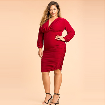 New arrival Plus size red color long sleeve sexy V-neck bandage party dress