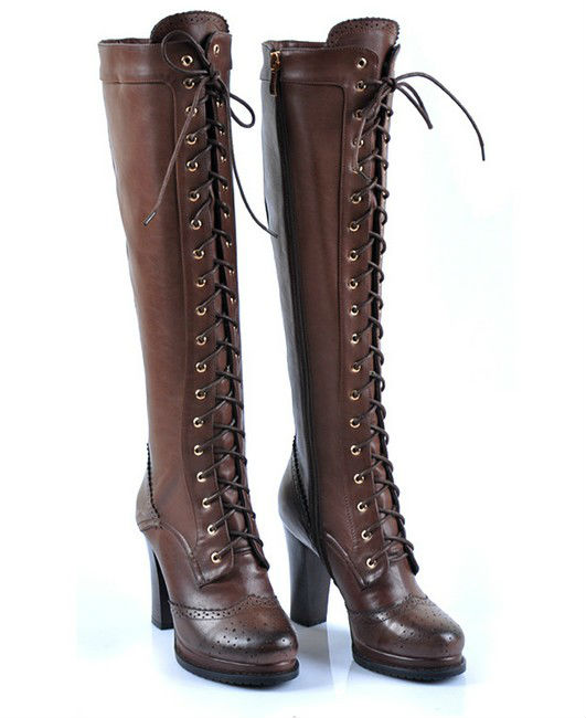 New Arrival 2013 Brown Leather Lace-up High Heels Boot Women Fashional Length Shaft Boots