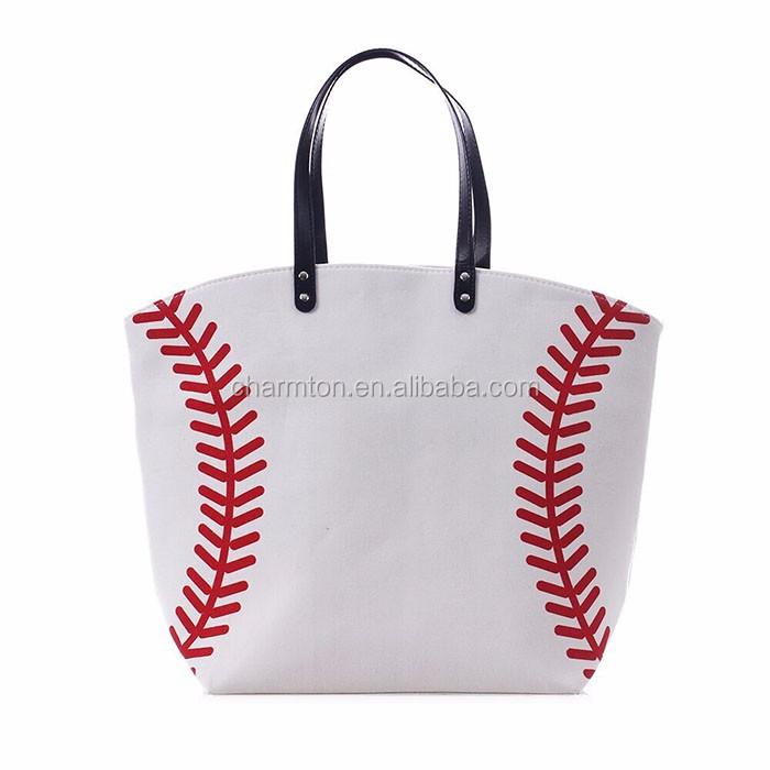 wholesale summer women monogrammed baseball tote bag