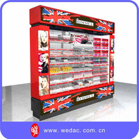 Retail store LED lighted pusher inserted comprehensive cosmetic display stand