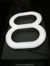Acrylic Hotel Shop Logo Sinage Super Bright Lighted Channel Letter Signs LED Number Sign