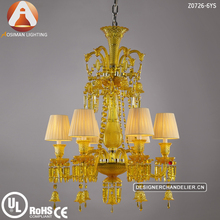 Baccarat Inspired 6 Light Yellow Crystal Chandelier