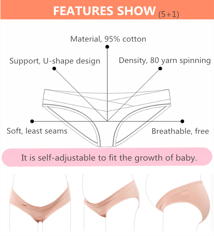 Amazon hot sale free size elastic maternity panties pregnancy underwear underpants with customized logo