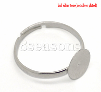 New Design Silver Tone Adjustable Ring Blank Base For Jewelry Making Glue-on