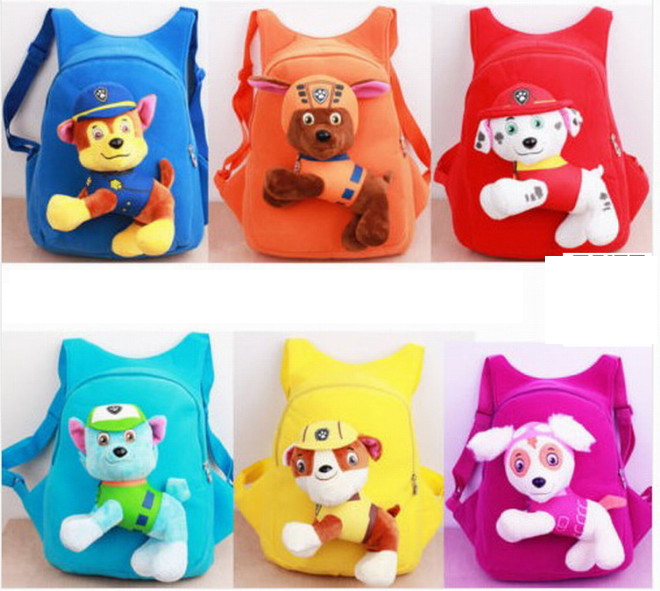 2017 kids plush schoolbags dog double shoulder bag with plush dolls 7 styles