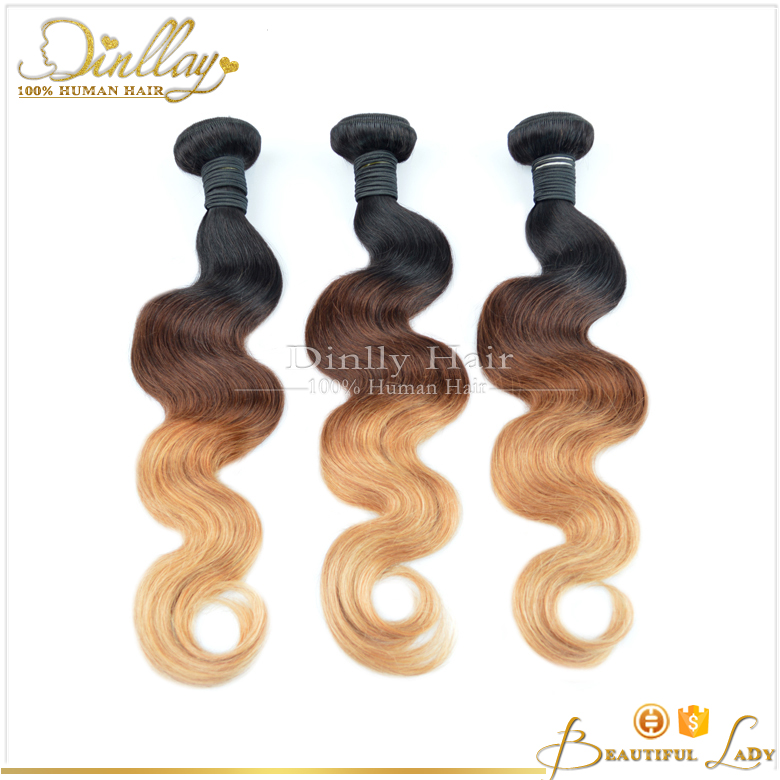 Dingli hair Three Tones Ombre Hair Weave T1B/4/27 Color Body Wave Brazilian Human Hair Weft