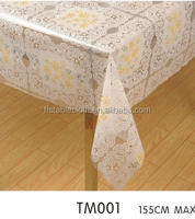 Transparent tablecloth two color flower printed PVC clear table cloth