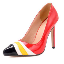 SAA40176 Bright red fancy stripes pointed toe thin high heel ladies shoes