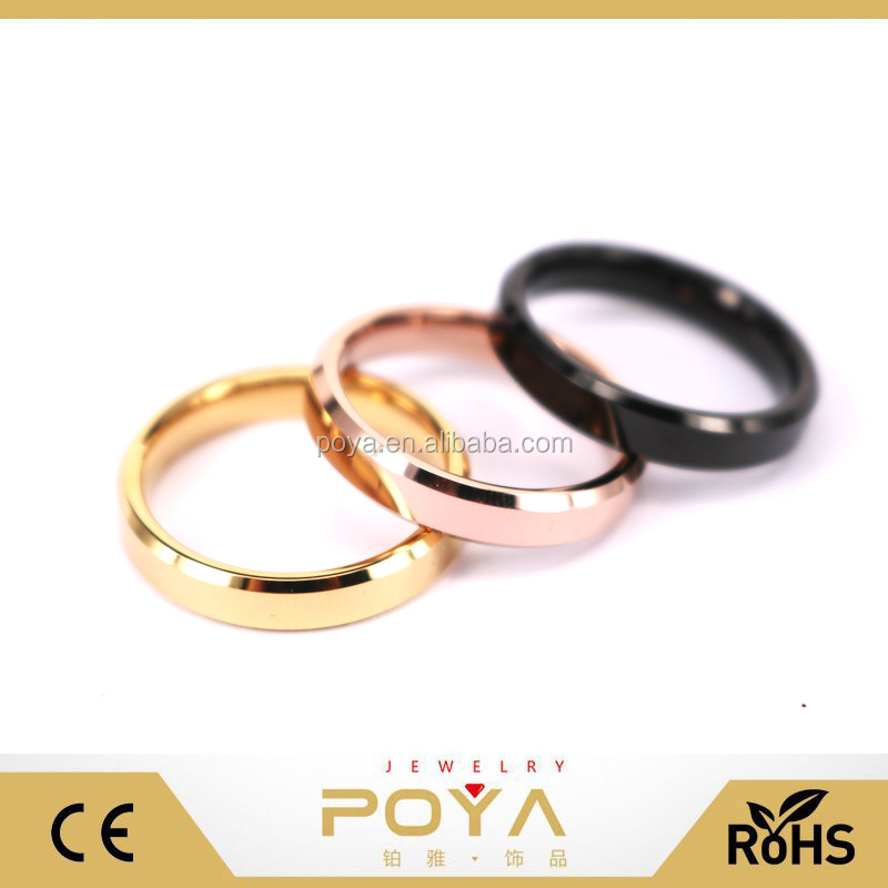 Personalized Engravable 3MM Gold Rose Black Wedding Rings