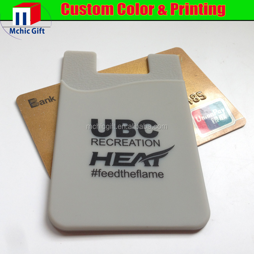 custom adhesive silicone rubber card holder 3m sticker mobile smart wallet