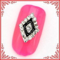 RH257/260 Trend Design Rhombus Shape Nail Art Decorations, Alloy Rhombus Rhinestone Nail Design