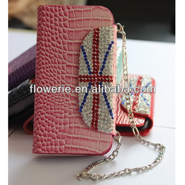FL2738 2013 Guangzhou hot selling union jack diamond wallet leather flip case for iphone 5 5G
