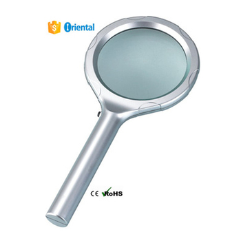 Plastic Handle Reading Glass+Paper Packaging Box,6 LED Acrylic Magnifier 8B-3,Magnifier AA Battery Powered